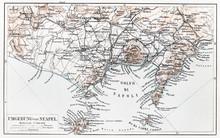 Vintage kaart van Napels omgeving aan het eind van de 19e eeuw
