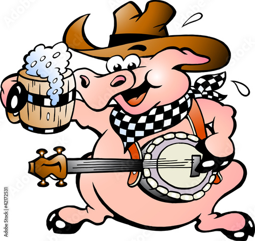 Poster Wild West Hand-drawn Vector illustration of an pig playing banjo