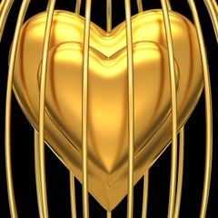 Gold heart in golden cage