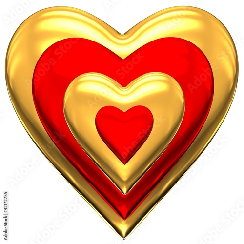 Gold and red heart on a white background