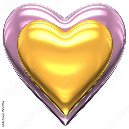 Gold and pink heart on a white background