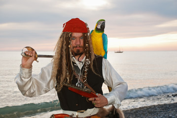Pirate with  a parrot