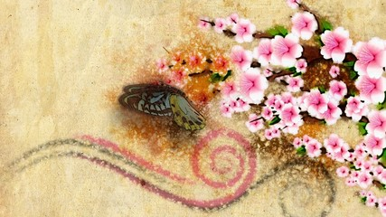 animated decorative backdrop growing paint flowers and butterfly