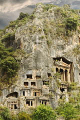 Lycian Tombs Carved in Mountain at Fethiye Turkey