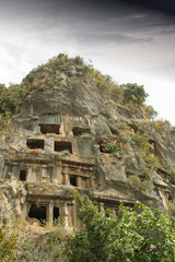 Greek Lycian Tombs Carved in Mountain at Fethiye Turkey