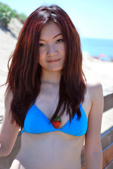 Asian girl with the strawberry in bikini2