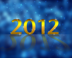 New 2012 year and blue background