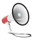 Megaphone. Red and white Megaphone with Strap.