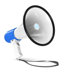 Megaphone. Blue and white Megaphone with Strap.
