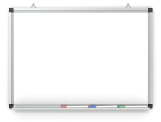 Whiteboard. Blank Whiteboard mounted on wall. 3x marker pens.