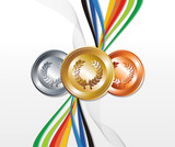 Gold, silver and bronze medal with ribbons background