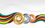 Gold, silver and bronze medals with ribbons background
