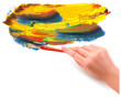 Abstract color background with hand.