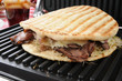 Roast beef sandwich on a panini press