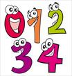 Caricaturas de números felices desde el número cero al cuatro