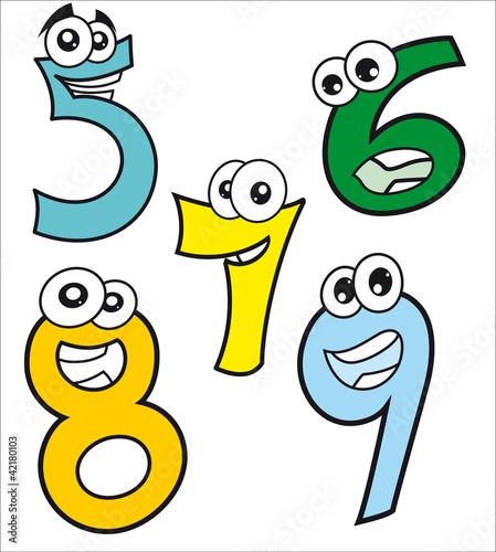 Caricaturas de números  felices desde el número cinco al nueve