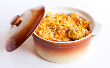 Freshly prepared pilaf in a pot