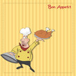 funny cartoon chef with tray of  food in hand