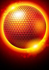 3d hexagonal sphere vector background