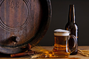 Beer and wooden barrel