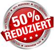 """Button Banner """"50% reduziert"""" rot/silber"""
