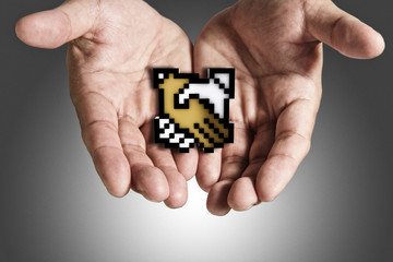 hand shows pixel handshake icon sign