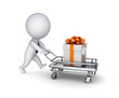 3d small person, shopping trolley and gift box