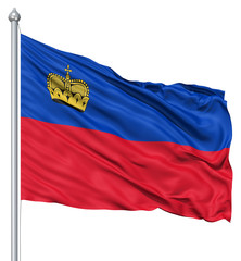 Waving flag of Liechtenstein