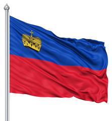 Waving flag of Liechtenstein