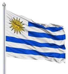 Waving flag of Uruguay