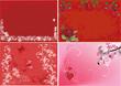 four red floral backgrounds illustration