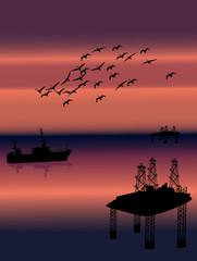 birds above sea oil platform