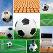 Soccer ball collage background