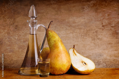 still life with traditional fruit brandy