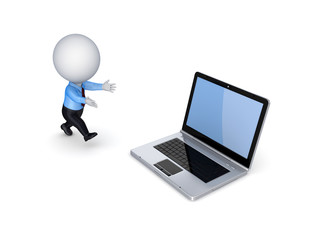 3d small person running to a modern notebook.