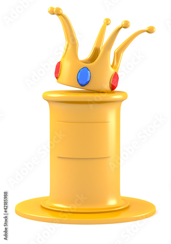 Crown on golden pedestal