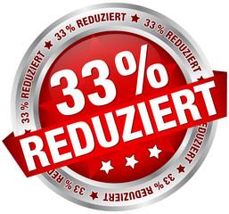 """Button Banner """"33% reduziert"""" rot/silber"""