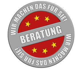 Schild graurot rund rt  WMDFS BERATUNG