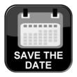 Glossy Button schwarz - Save the date