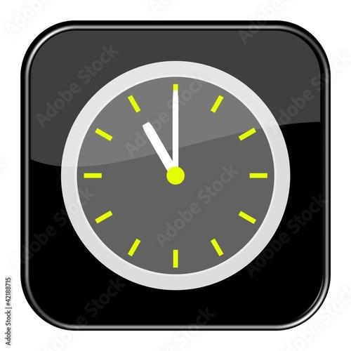 Glossy Button schwarz - 11:00 Uhr / 23 Uhr