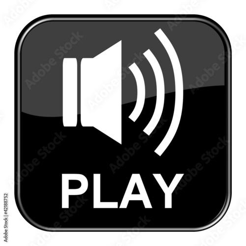 Glossy Button schwarz - Audio Play