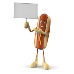 3d rendered illustration of a hot dog character