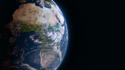 Earth 3d view from space. Africa.