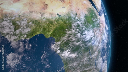 Earth 3d view from space. Central Africa.