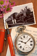 Antique pocket watch with a nostalgic photo