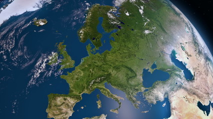 Earth 3d view from space. Europe