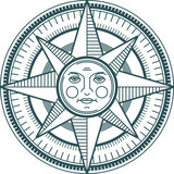 Vintage sun compass rose, vector illustration