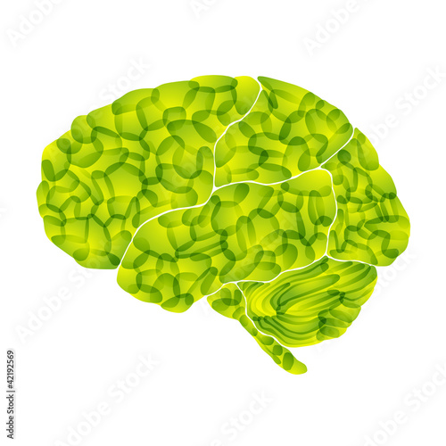human brain, light green aura, vector abstract background