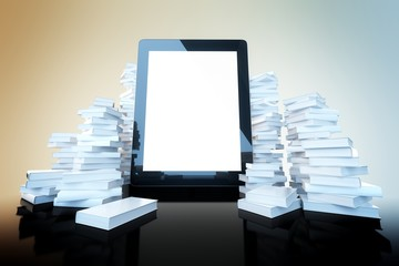 touch screen pad  among the many paper books