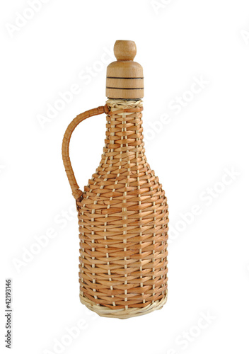 Interwoven vine glass bottle for wine or vegetable oil